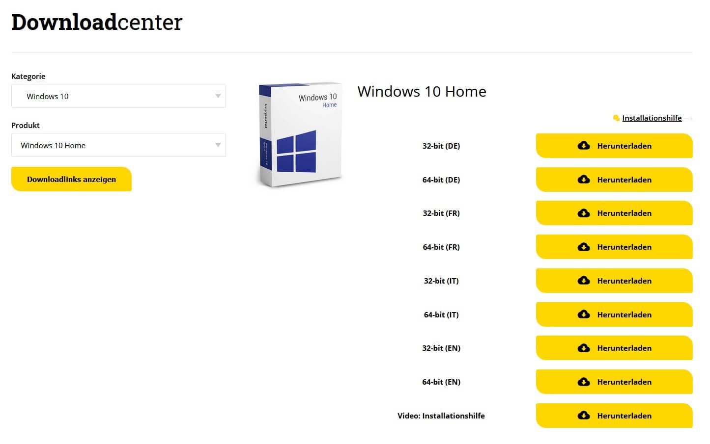 Im Downloadcenter von keyportal.de die passende Ausführung herunterladen
